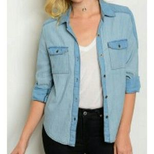 Blvd Collection Blue Chambray Button Down